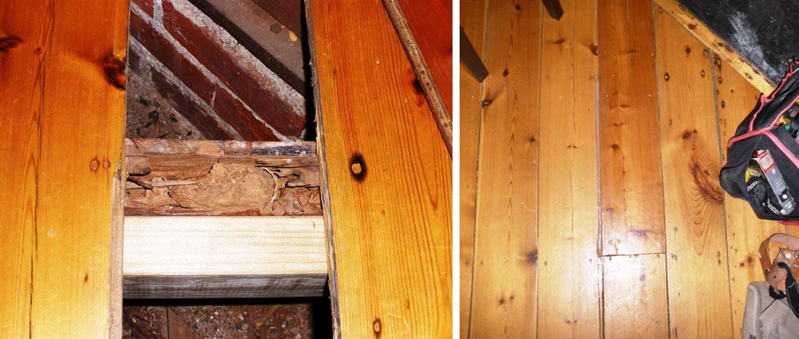 Rotten timber repaired and matched.
