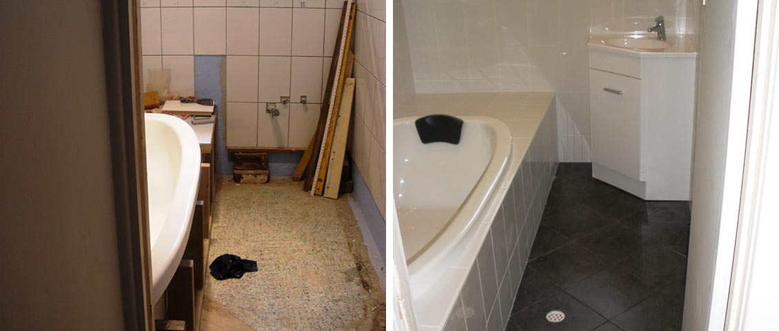Bathroom floor and wall tiling.
