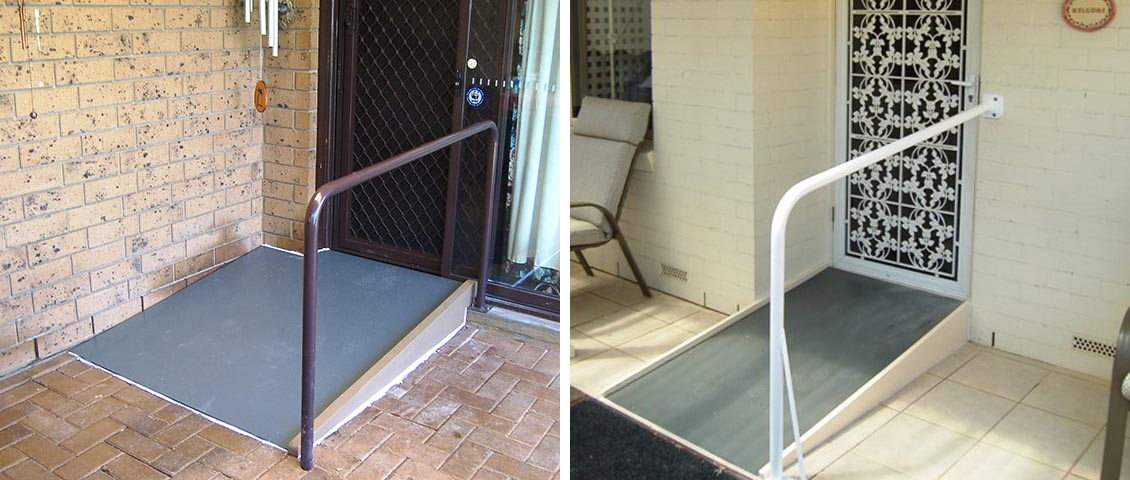 Lip ramp and hand rail for door access.