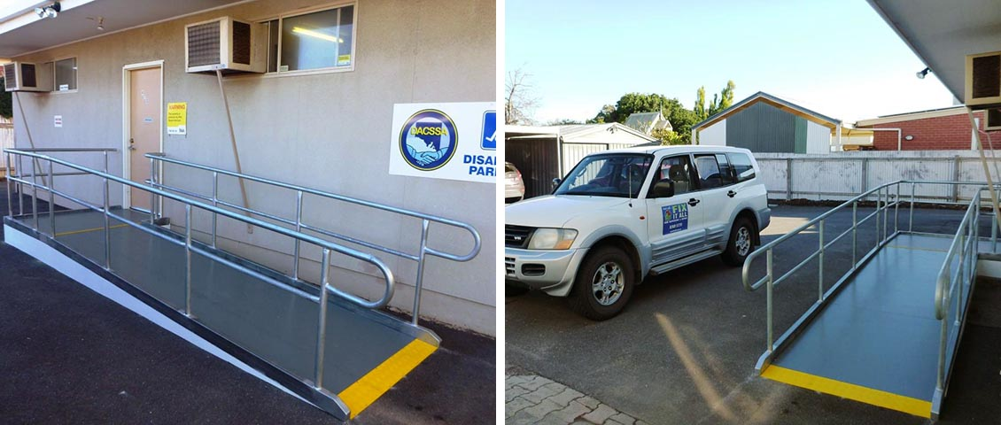 Workplace wheelchair access ramp.