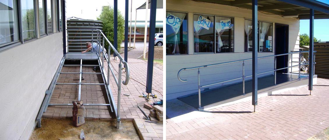 School wheelchair access ramp.