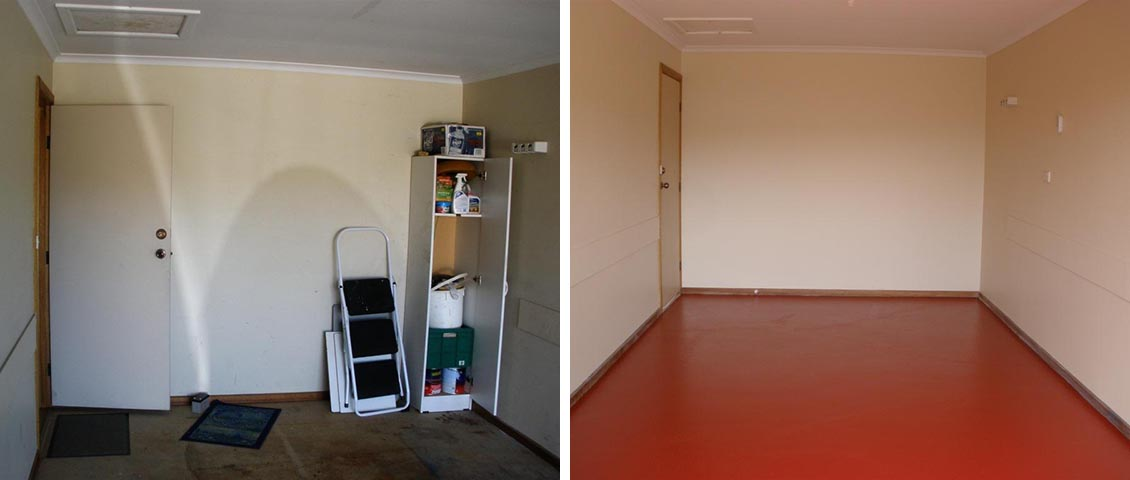 Store room renovation with epoxy floor.
