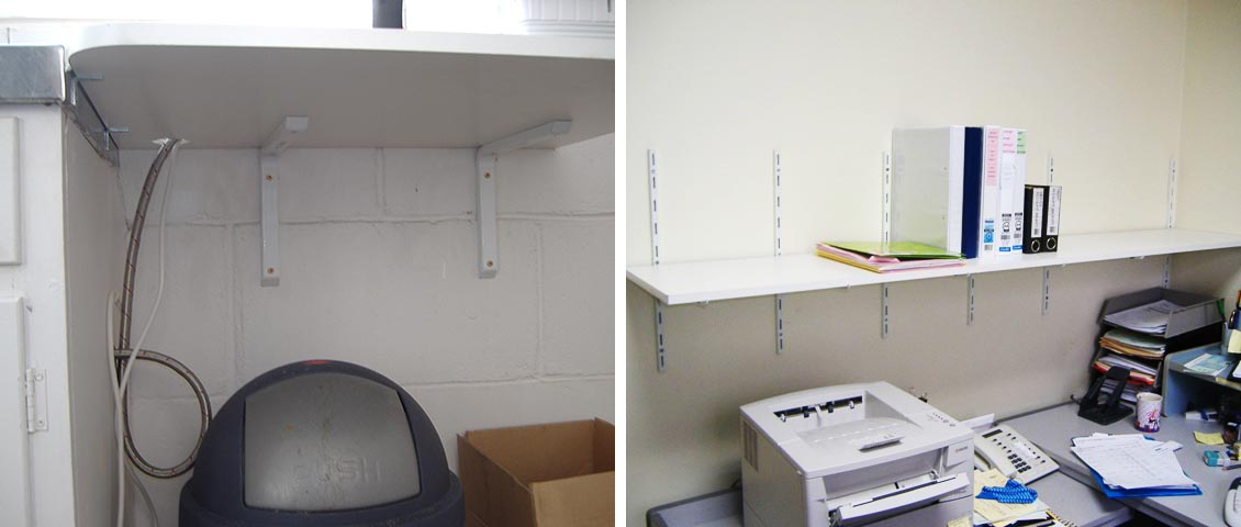 Custom shelving for storage and utility rooms.
