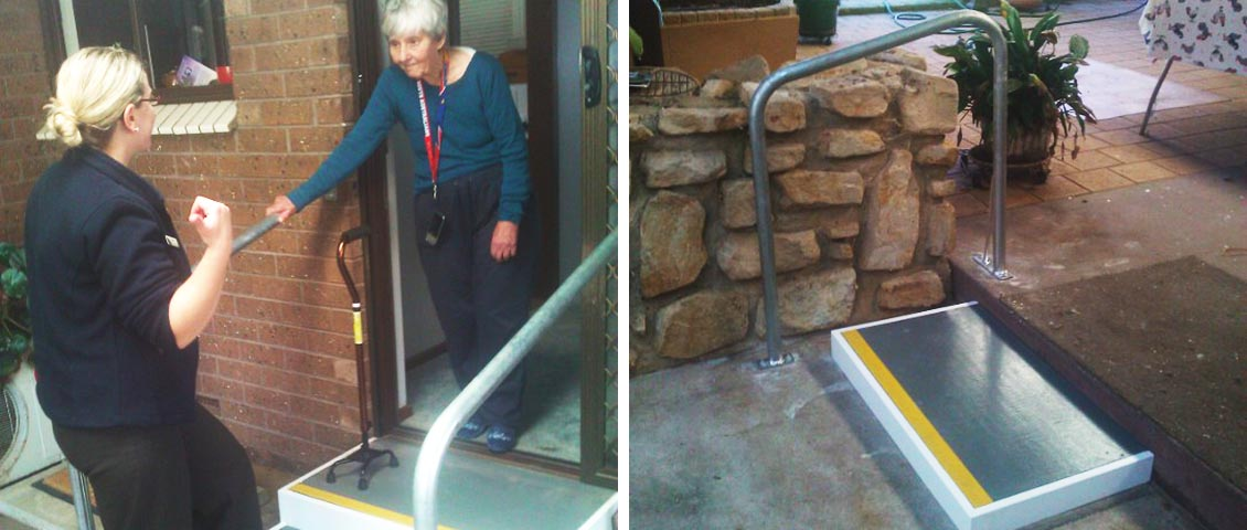 Safe steps and hand rail for vision impaired.